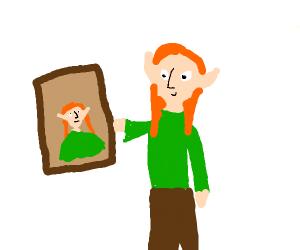 Elf admires his self portrait