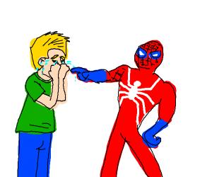 Spiderman making blonde man cry