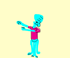 Squidward with a Pink Shirt dabs