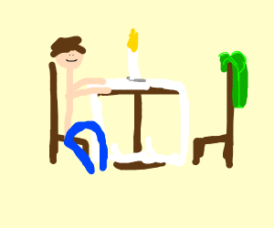 Lonley guy gos on date with his green shirt