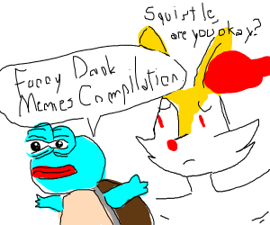 Squirtle with Pepe's face
