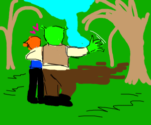 shrek sharing his swamp with human boy lover