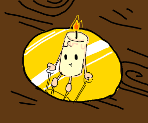 a candle man sitting on a gold plate