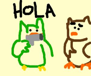 duolingo teaches spanish to an owl