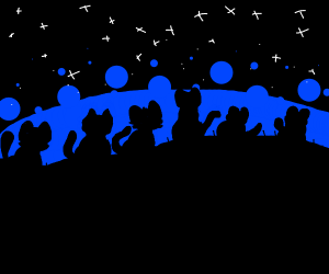 Cats sitting under stars