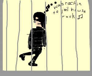 Emo man with jailhouse rock playing