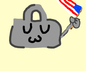 A grey bag with eyes who wants freedom