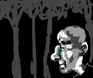 sad old man lurking in the shadows