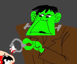 Frankenstein's monster covering his tracks