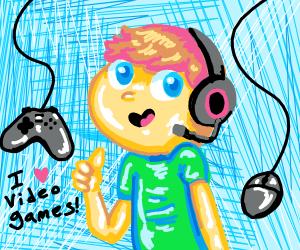 kid saying he enjoys a video game