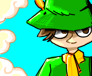 Mouthless dude in green clothes