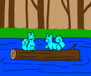 2 blue squirrels sitting on a log in a river