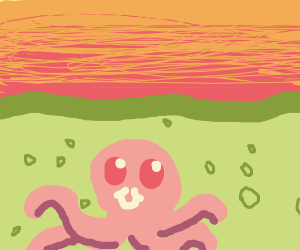 pink octopus green sea