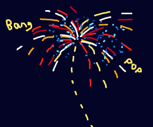 Sparkly exploding fireworks in the night sky