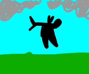 Black monster falling off the sky