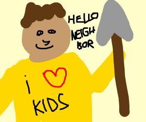 hello neighbor wears a yellow sweater