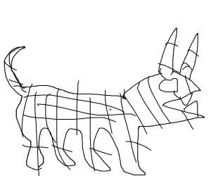 skeleton dog w/ devil horns