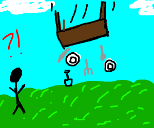 table falling from the sky