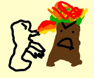 Small dragon defends a tree