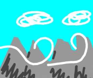 Sky, moutains, wind.