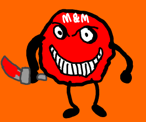 Red m&m with bloody knife