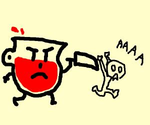 Kool-aid man selfharm? Or murderer.