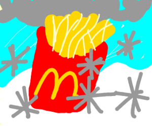 McDonald's fries in the snow