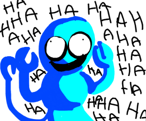 Blue scorpion laughing