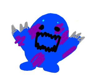 Giant blue monster with large claws