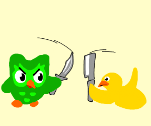 duolingo owl and duck fights