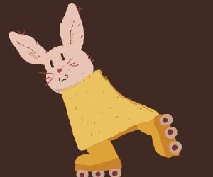 A very cute bunny on a rollerskate