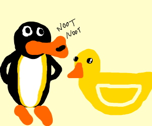 Pingu finds a duck