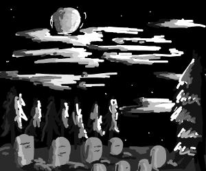 A dark and ominous graveyard