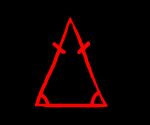 red isosceles triangle, black background