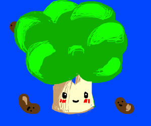 cute broccoli with beans