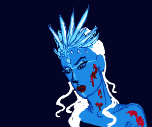 blood spattered blue ice woman