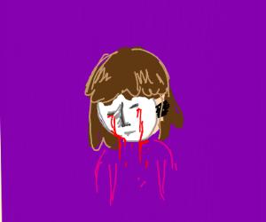 Creepy mask girl crying tears of blood