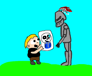 Cringe kid shows sans to knight