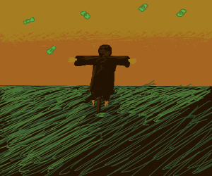 Scarecrow watches it raining money.