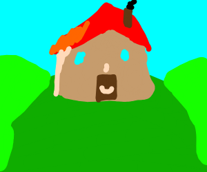 house with a face on a hill