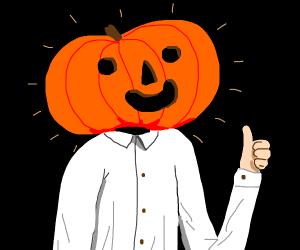 prof. pumpkin head gives thumbs up