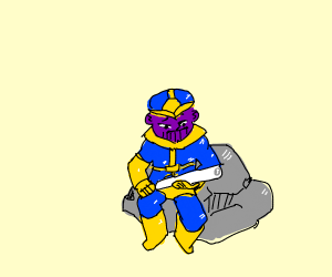 Thanos on a rock with a drain pipe?