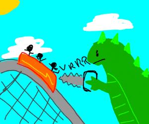 Godzilla attacks rollercoaster with chainsaw