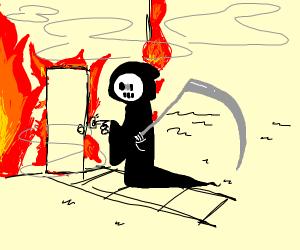 Grim Reaper visits burning house