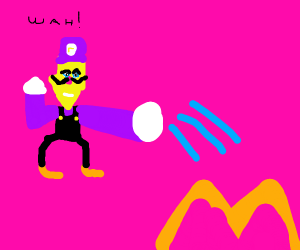 Waluigi pouring water over fire