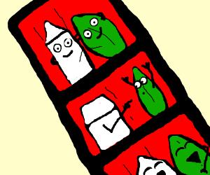Carton of milk & green leaf are bbfs