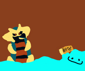 Giratina bathing in a shiny ditto with butter