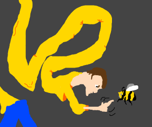 Long guy is angry with a bee