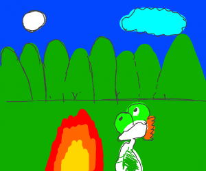 yoshi at a camp fire