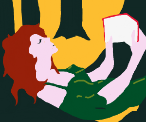 Woman in forest reads book